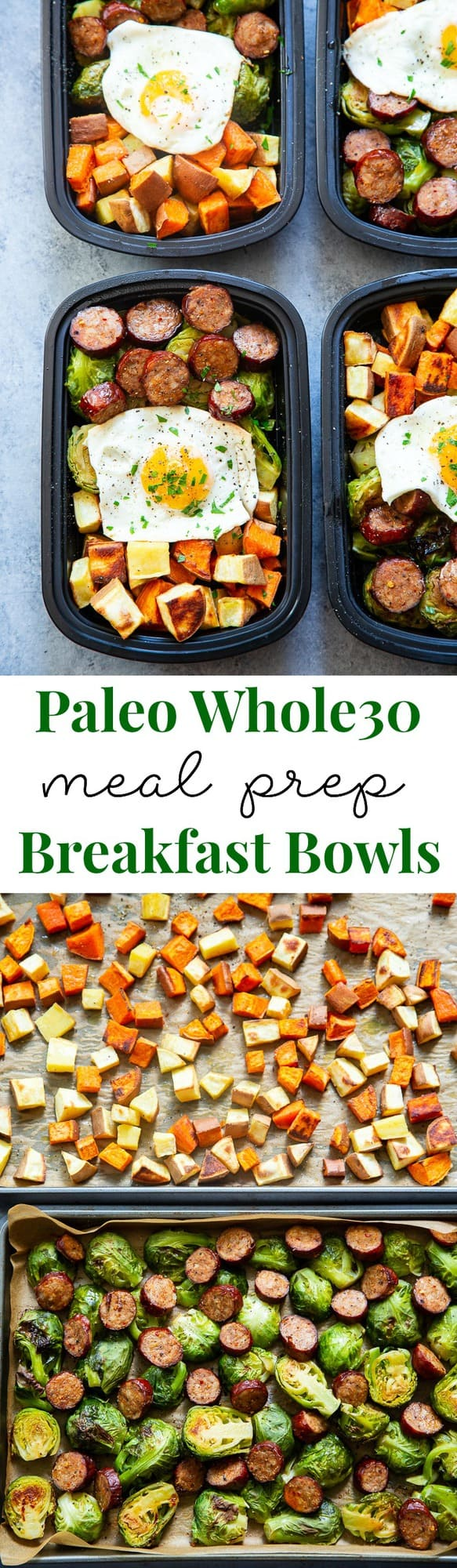 Get breakfast ready the night before with these easy sweet potato, sausage, veggie, and egg Paleo breakfast meal prep bowls!  They're simple, Whole30 complaint, dairy free, junk free, tasty and filling!