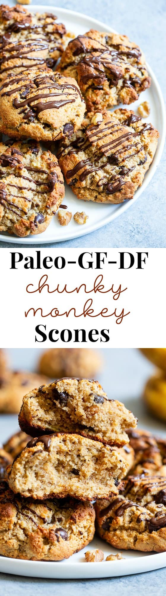 These easy chunky monkey scones are so ridiculously delicious that you won't believe they're grain free, dairy free and paleo!  The winning combination of bananas, nut butter, chopped nuts and chocolate is somehow even better in scone form!  Great for brunches, snacks and even dessert, the soft inside and crisp outside will quickly get you addicted!