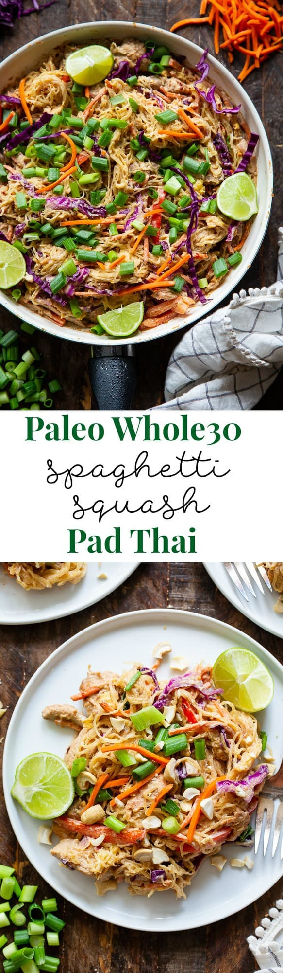 This healthier spaghetti squash pad thai is easy to make at home and packed with veggies, chicken, and a flavorful sauce.  It comes together in 30 minutes and the leftovers are perfect for lunches the next day!  Paleo, Whole30, family friendly and low carb.