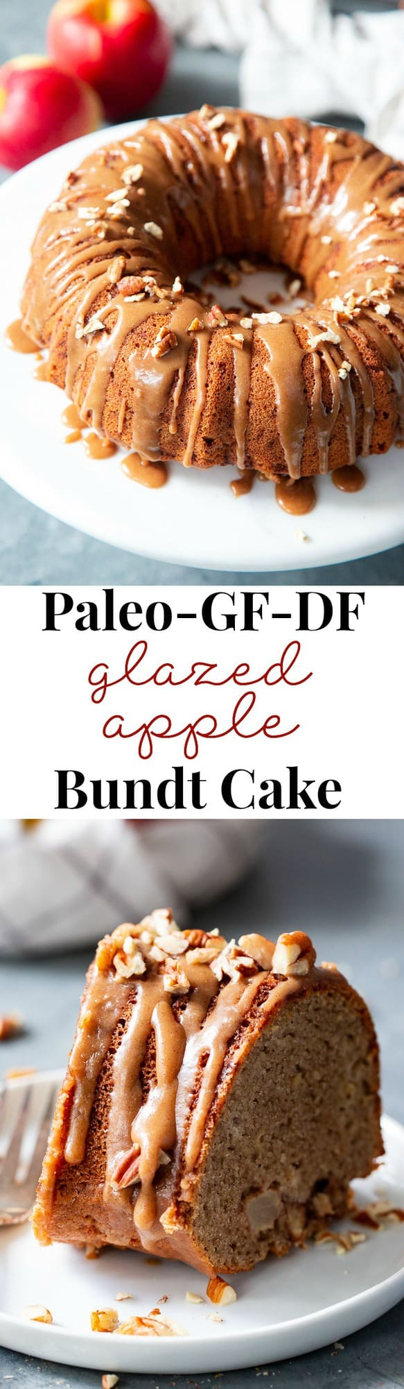 This Glazed Apple Bundt Cake is a healthier spin on a fall baking favorite!  It's moist and fluffy, packed with warm spices and juicy apples, and topped with a refined sugar free maple glaze that's irresistible.  It's gluten-free, grain-free, dairy free, and paleo.