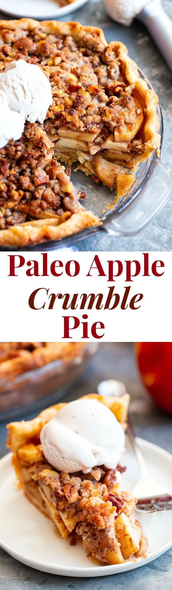 This gluten-free and Paleo Apple Crumble Pie starts with an easy grain free pie crust filling with gooey, juicy warmly spiced apples and a sweet crunchy crumble topping. It's a showstopper for the holiday season and a fun anytime healthier dessert!
