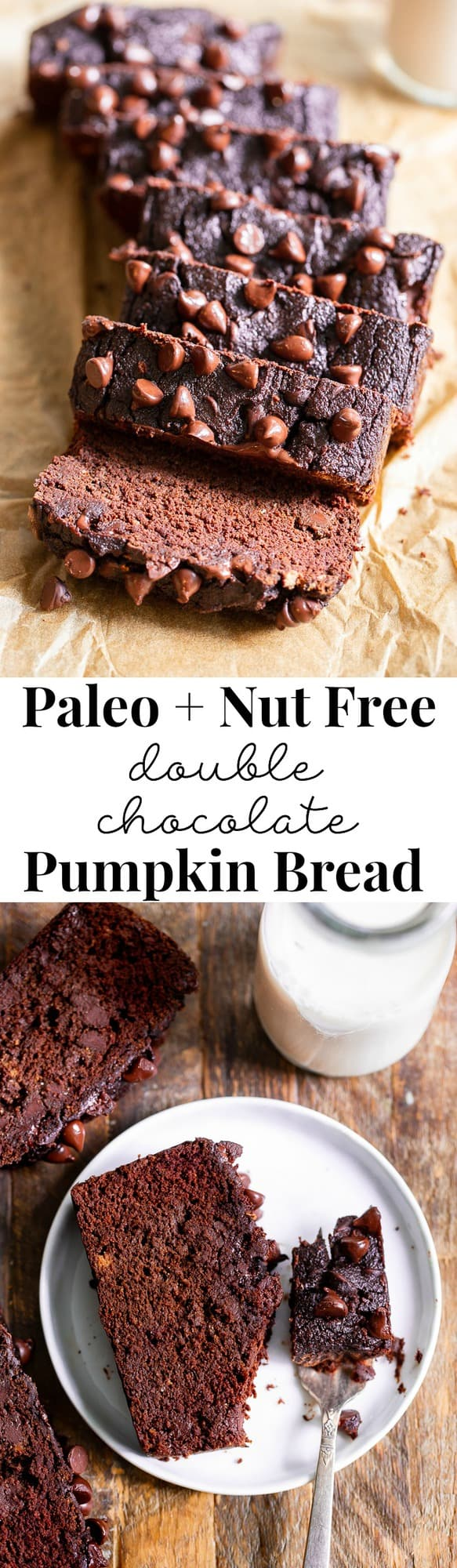 This paleo double chocolate chip pumpkin bread is moist, cake-like, and packs a big flavor punch with lots of dark chocolate flavor AND warm pumpkin pie spices. It's gluten free, grain free, dairy free, and nut free.