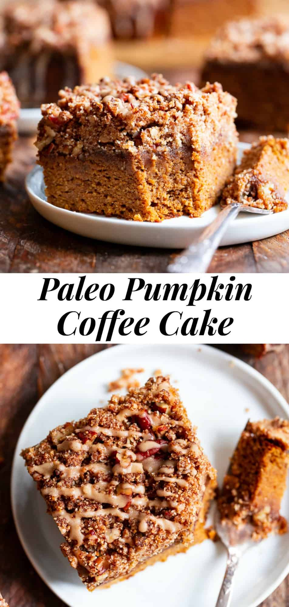 This Paleo Pumpkin Coffee Cake has it all! Moist cake with sweet fall spices topped with an addicting crumb topping and maple icing! Fancy enough to serve to brunch guests but so delicious that you'll want to have some to snack on all season long! #paleo #cleaneating #pumpkin #paleobaking #glutenfree