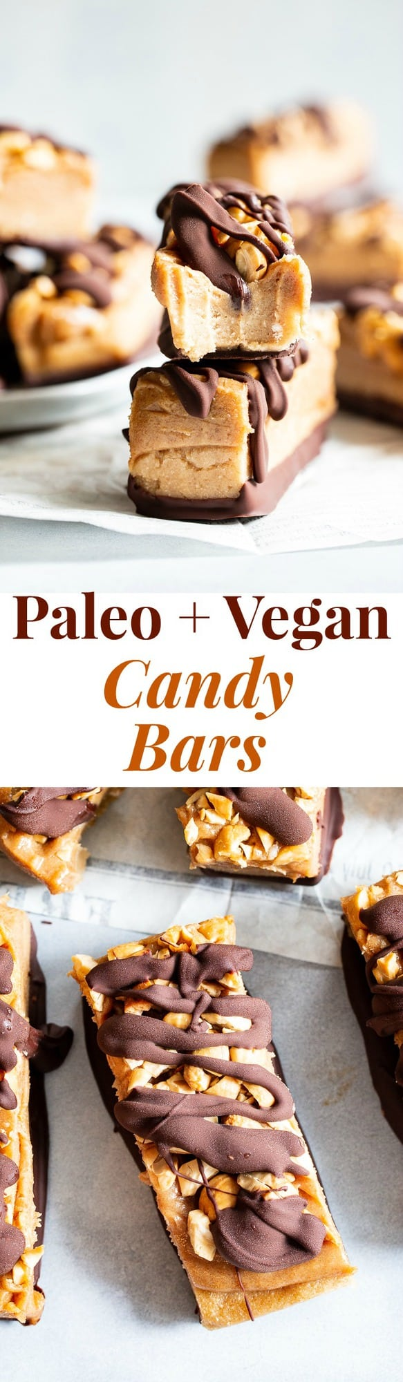 These gooey sweet healthy candy bars are packed with good for you ingredients like fruit and nuts, but taste 100% like a legit rich chewy candy bar!  These paleo and vegan candy bars are gluten free, egg free, dairy-free and free of refined sugar.