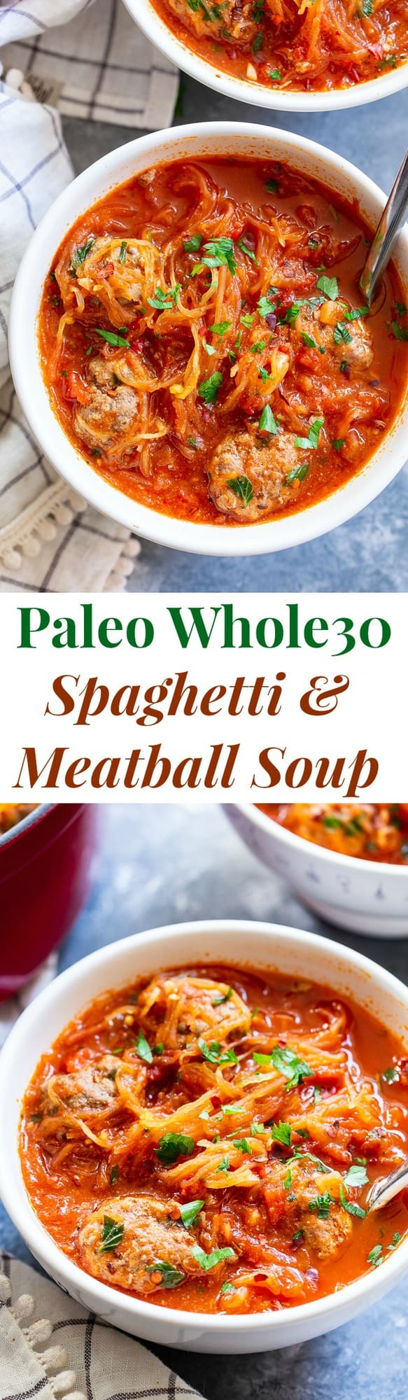 This healthy spaghetti and meatball soup uses spaghetti squash instead of pasta to make it lower in carbs, gluten-free, paleo and Whole30 compliant!  This savory, cozy soup is the perfect answer to your spaghetti and meatball cravings!