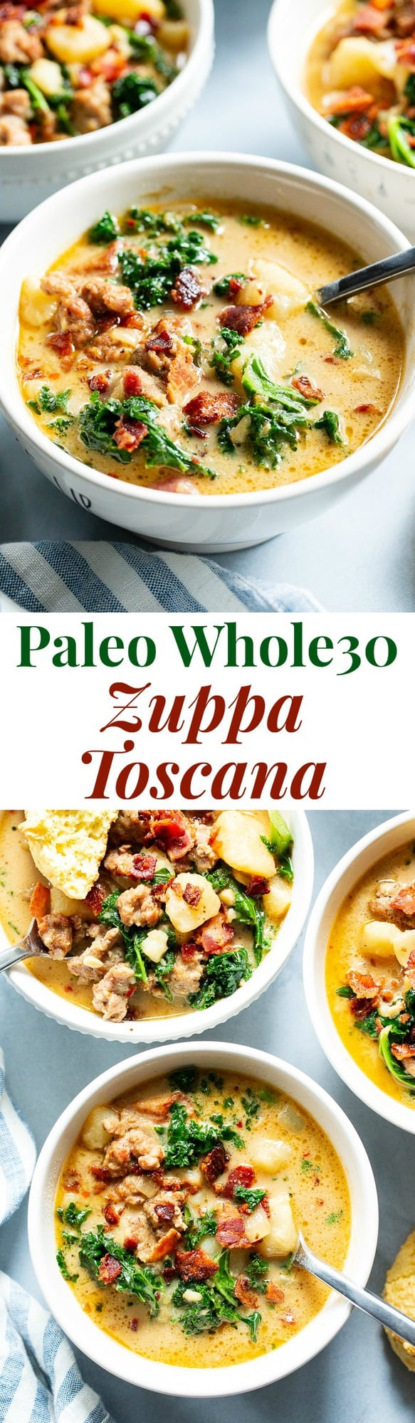 This healthier twist on classic Zuppa Toscana is insanely delicious, creamy, savory and so cozy during the cold months!  It's packed with all the goodies, is totally dairy-free, paleo, and Whole30 compliant, and even has a low carb keto option.