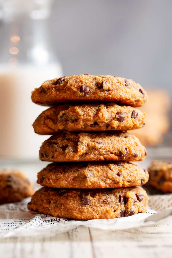 These super soft paleo chocolate chip cookies are made with good for you ingredients like sweet potatoes, almond flour, coconut sugar and coconut oil but they taste downright decadent!  They're gluten-free, dairy-free, refined sugar free, and healthy enough for breakfast!