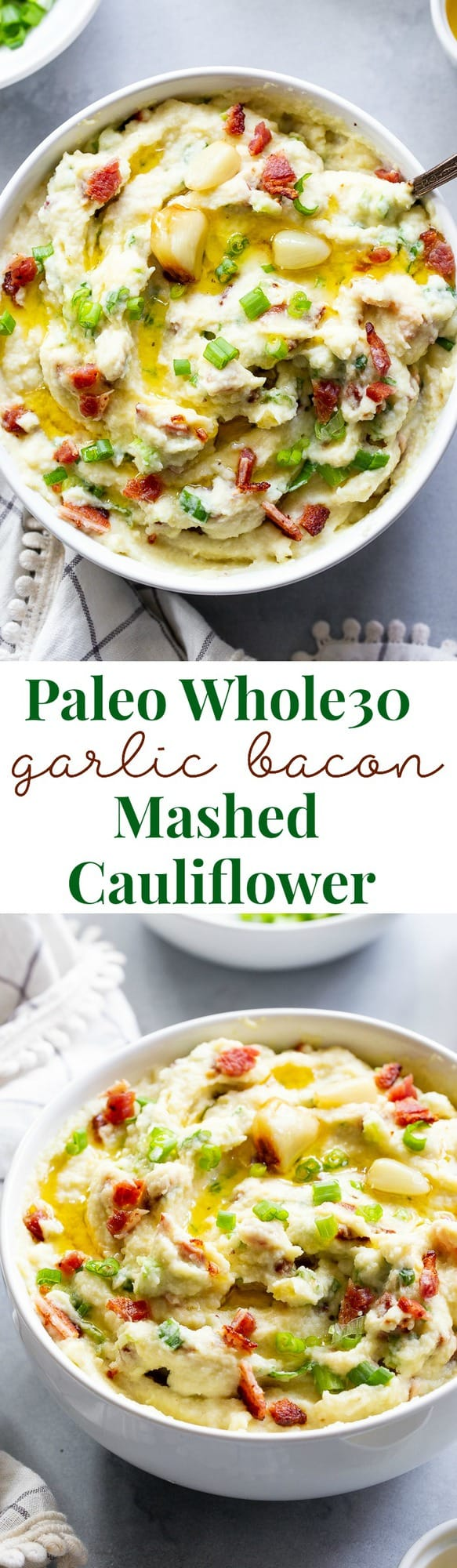 This creamy mashed cauliflower is packed with goodies like roasted garlic, crispy bacon and scallions. It tastes just like loaded mashed potatoes, but without the carbs!  Whole30 compliant, paleo, keto, and dairy-free.