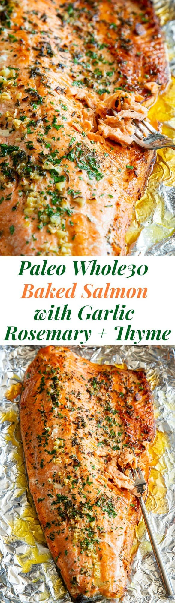 #ad This Paleo, Keto + Whole30 Baked Salmon in Foil with Garlic, Rosemary and Thyme is packed with flavor and super easy to make. A mix of melted ghee, garlic and fresh herbs (plus a little lemon) give this #primewaters salmon fillet tons of flavor and a high oven temperature gets the skin a little crispy! It's perfect with all your favorite holiday side dishes (espeically my cauliflower stuffing!) and salads, plus fast and easy to throw together. #salmonrecipes