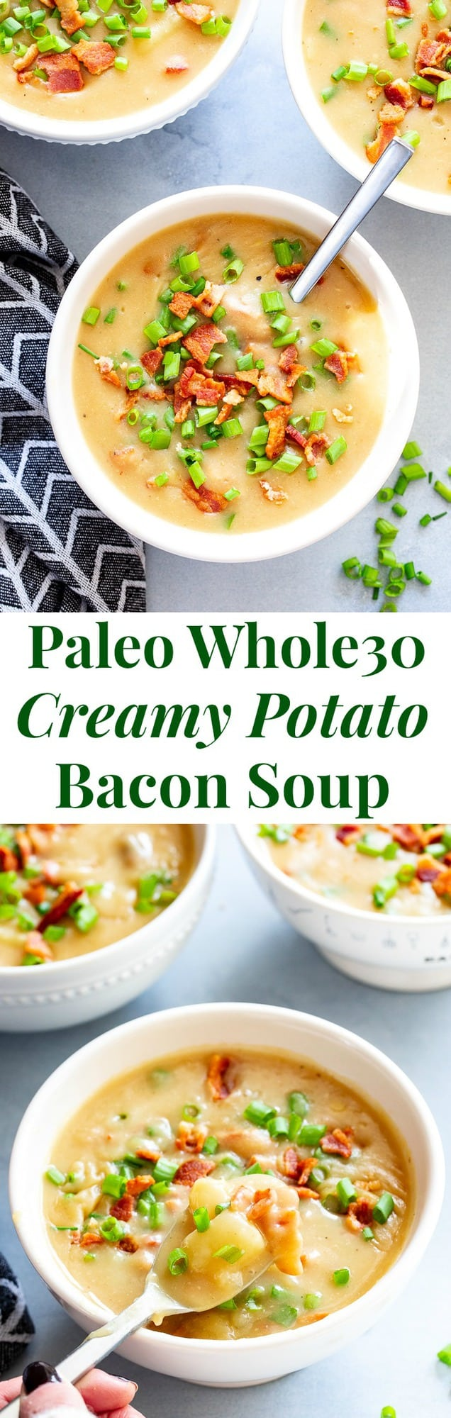 This easy and delicious creamy potato soup is loaded with flavor, bacon, and hearty chunks of potatoes too.  It's the perfect comfort food on cold winter nights!  It's dairy-free, Whole30 compliant and paleo friendly.