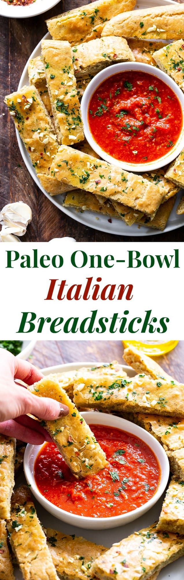 These easy, one bowl Paleo breadsticks are loaded with flavor, Italian herbs and garlic, and have the perfect chewy texture.  They're great when you're craving bread but want to keep things clean!  Gluten-free, grain free, dairy free and perfect for dipping.