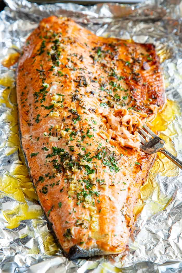 Baked Salmon In Foil With Garlic Rosemary And Thyme Whole30 Keto