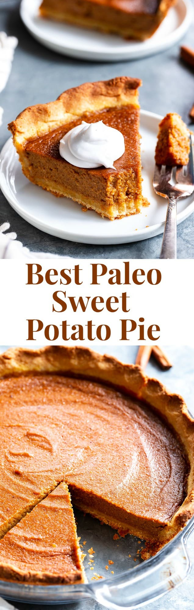This Paleo Sweet Potato Pie is a total showstopper for the holidays! It has a grain free and paleo crust that tastes just like the real deal, and a creamy filling filled with sweet warm spices, you'll be hooked with the first bite. Both the crust and filling use the new Paleo Baking Flour Blend from @KingArthurFlour that gives it that totally legit texture and flavor! Gluten-free, grain free, refined sugar free, dairy free option. #AD