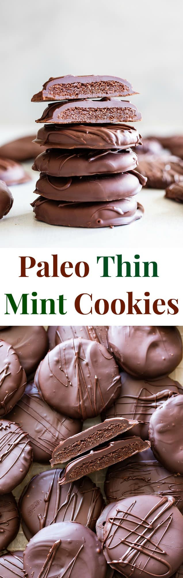 These healthy homemade thin mint cookies are out of this world delicious plus easy and fun to make! Gluten free and paleo mint chocolate sugar cookies are dipped in silky dark mint chocolate to make the best mint chocolate covered cookies that everyone will love!