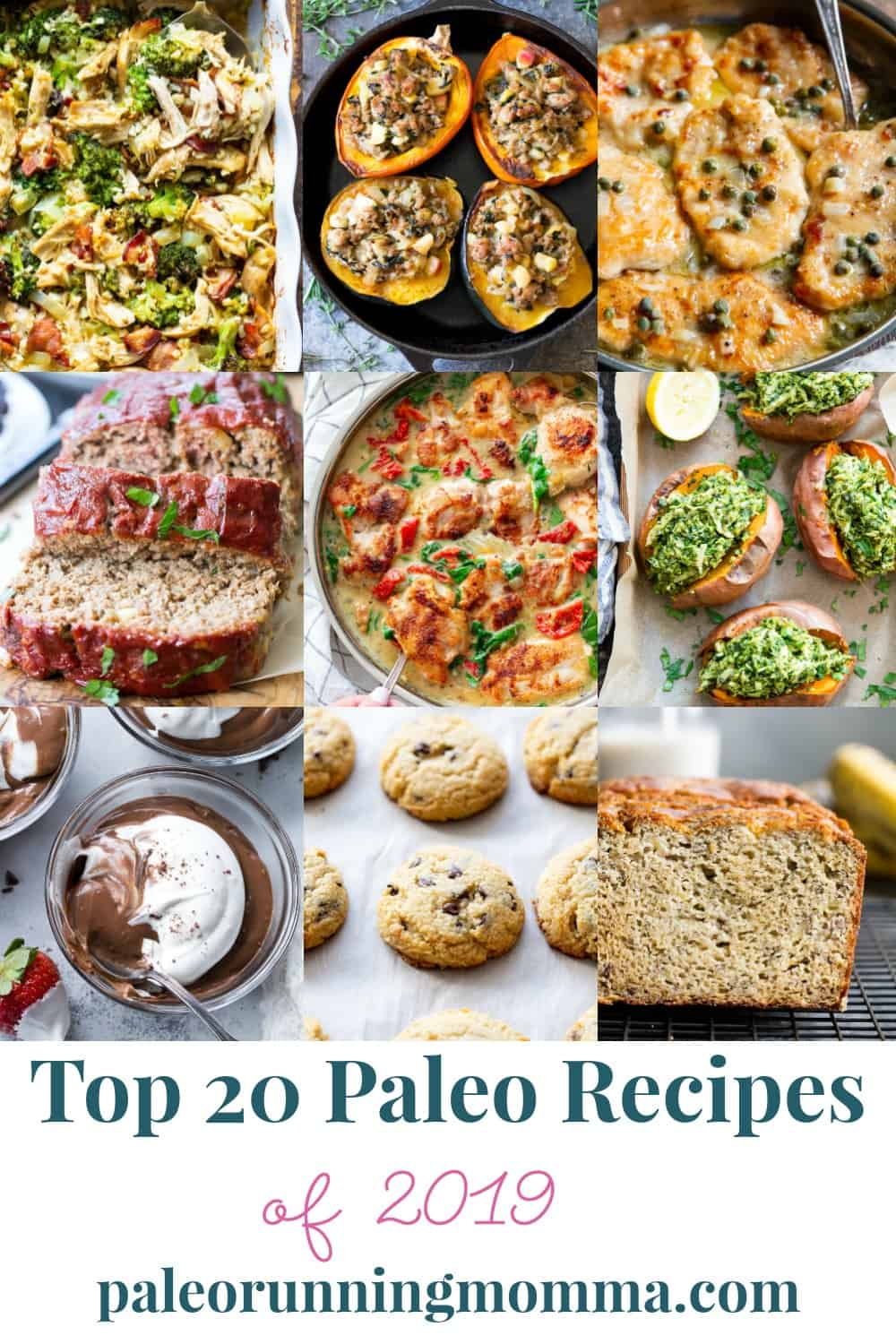 The top 20 paleo recipes from Paleo Running Momma of 2019. Everything from paleo and Whole30 breakfast recipes, make ahead lunches and easy, tasty clean eating paleo dinners that everyone will love! Plus delicious paleo baking and dessert recipes.