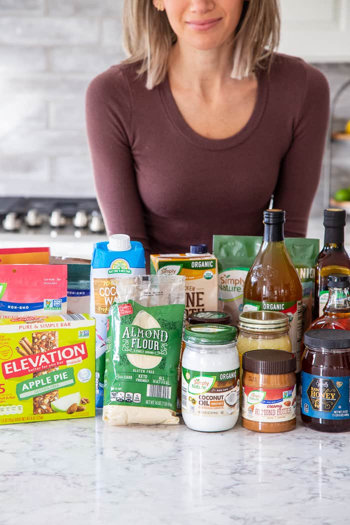 "#AD I'm determined not to just ""wing it"" with meals this year and a pantry restock was in order! @aldiusa has a big selection of products that I always want in my pantry to throw together healthy meals.  Coconut oil, ghee and apple cider vinegar and a surprising selection of paleo friendly snacks too!  Snacks that my kids will actually eat - like Elevation by Millville fruit and nut snack bars and Simply Nature Organic Coconut Cashew Crisps."