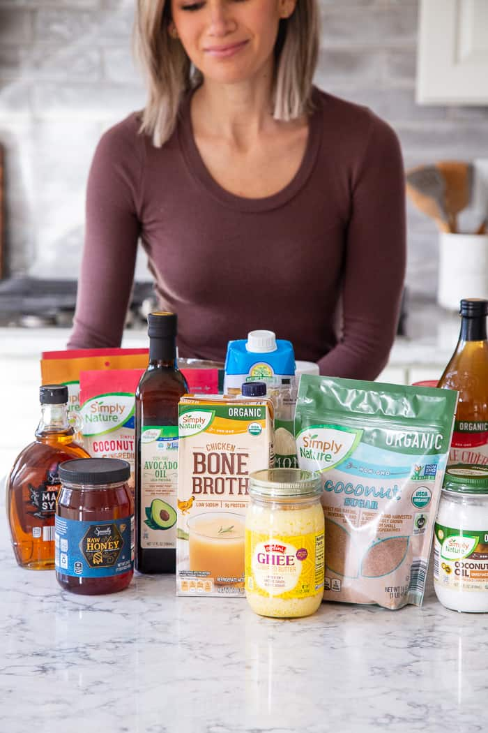 "#AD I'm determined not to just ""wing it"" with meals this year and a pantry restock was in order! @aldiusa has a big selection of products that I always want in my pantry to throw together healthy meals. Coconut oil, ghee and apple cider vinegar and a surprising selection of paleo friendly snacks too! Snacks that my kids will actually eat - like Elevation by Millville fruit and nut snack bars and Simply Nature Organic Coconut Cashew Crisps. I also made sure to grab blanched almond flour, pumpkin puree, unsweetened applesauce, almond butter, coconut oil and ghee for baking."