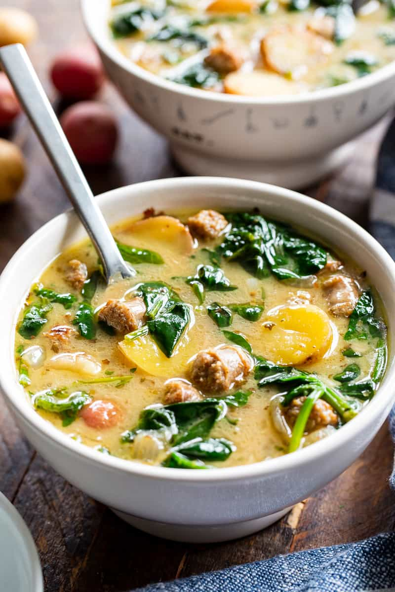 This savory and hearty Sausage Potato Soup with Spinach is a quick and easy comforting meal made in one pot that's packed with flavor and nutrients. It's Paleo, dairy-free, gluten-free, Whole30 compliant and perfect for healthy weeknight dinners. #AD #jonesdairyfarm #cleaneating #paleo #whole30