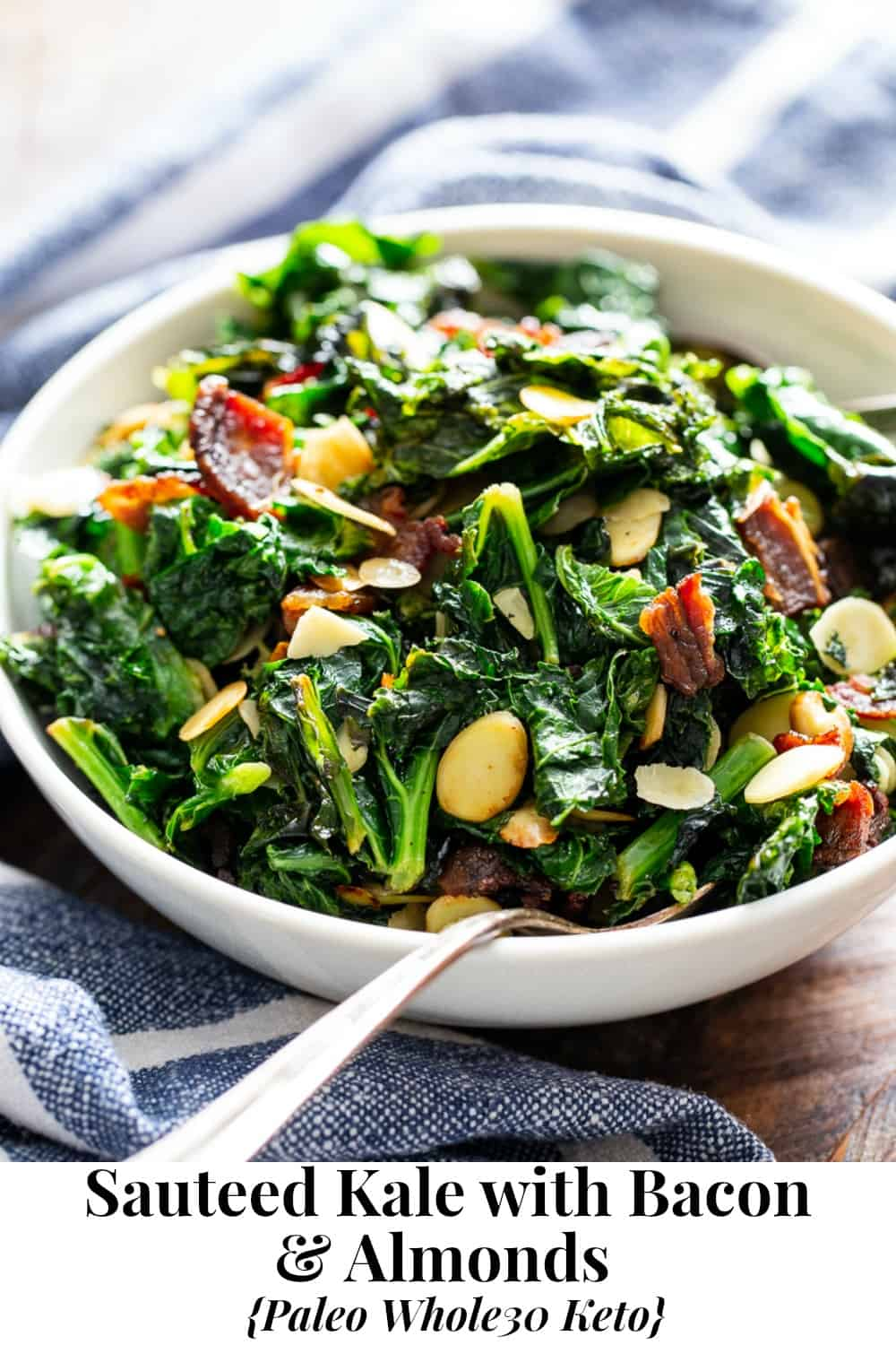 This delicious and simple sautéed kale with bacon and almonds is a savory healthy side dish that you'll want on repeat!  It's paleo and Whole30 friendly, keto, and Low FODMAP.  Serve it with any main course to add lots of flavor and nutrients to your meal. #keto #cleaneating #paleo #whole30 #lowfodmap
