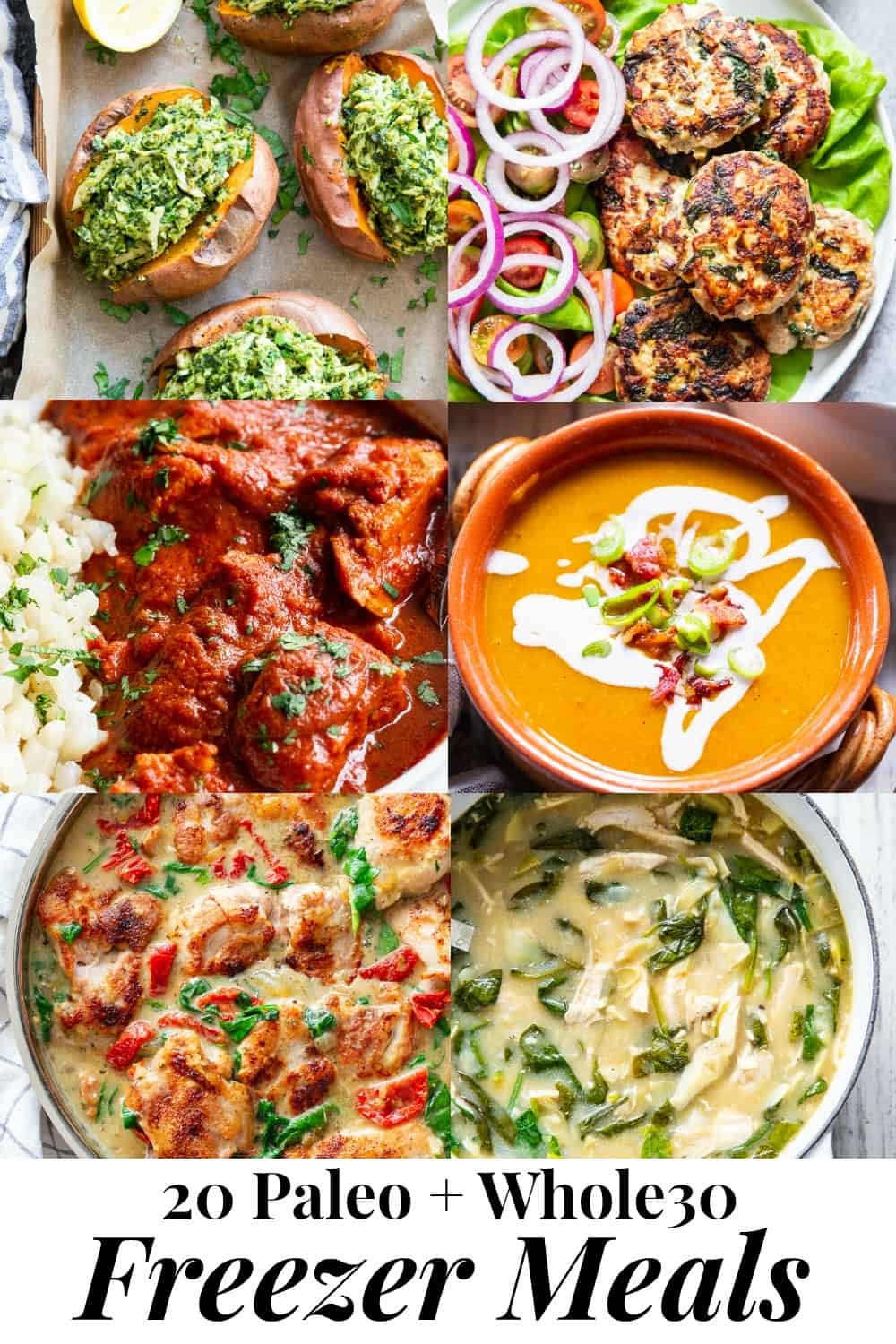 These paleo freezer meals are all perfect to make ahead of time, freeze and reheat! From soups to stuffed sweet potatoes, meatballs, instant pot meals, and zucchini lasagna, everything in this roundup is freezer friendly, packed with flavor, and also Whole30 compliant! Save this roundup for when those busy times when you need great healthy make ahead meals.