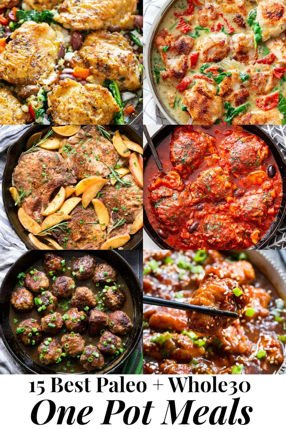 This recipe roundup includes 15 of the best one pot paleo meals featured on Paleo Running Momma!   All are easy and perfect for weekdays when time and energy is lacking.  These one pot meals are also Whole30 compliant and many are low carb and keto friendly.  From creamy tuscan chicken to instant pot chili, there's something to suit everyone's cravings! #paleo #Whole30 #cleaneating