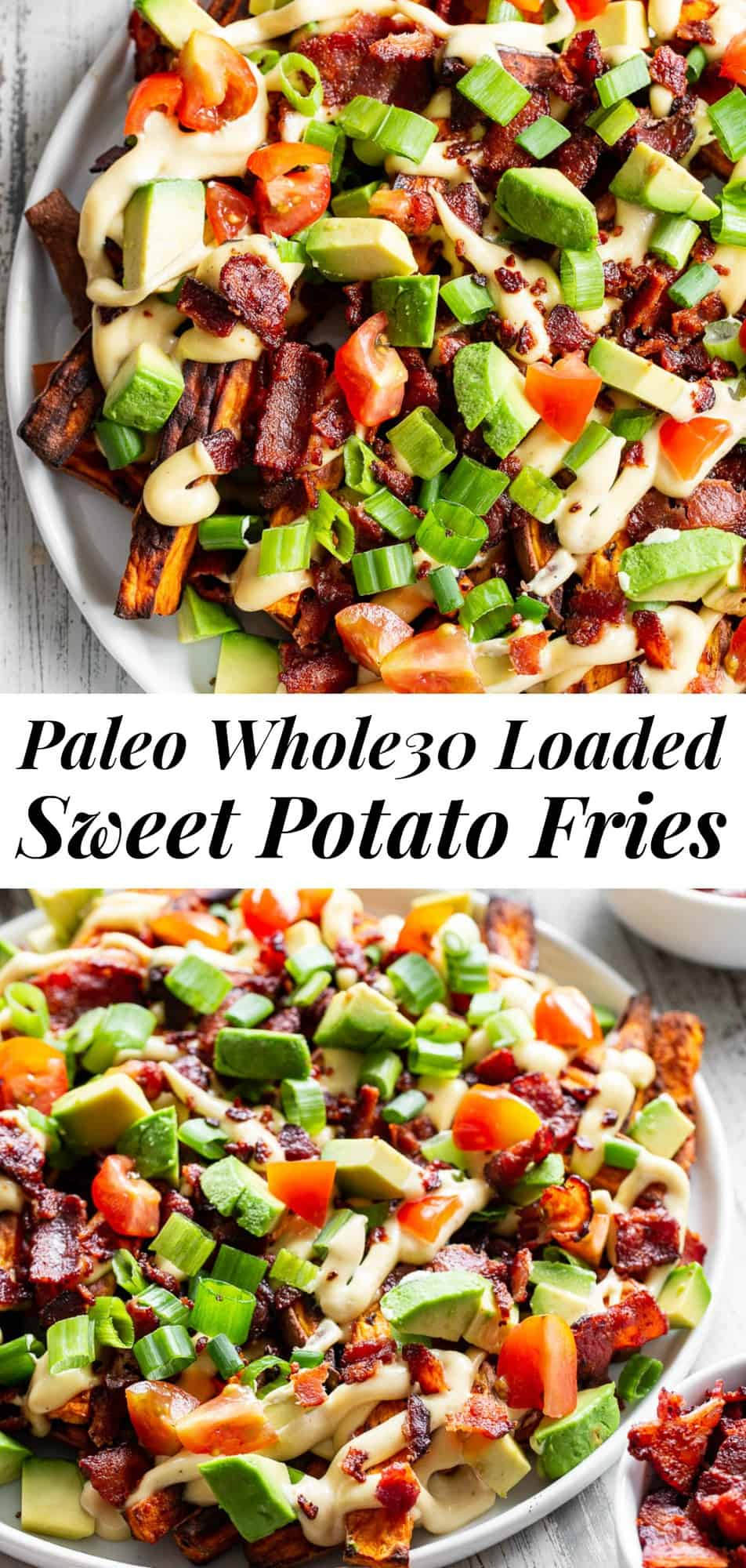 These loaded sweet potato fries are easy to make and packed with goodies! Sweet potato fries are baked crispy and topped with plenty of No Sugar Hickory Smoked Bacon from @jonesdairyfarm, dairy-free cheese sauce, green onions, avocado and tomatoes. This fun meal or appetizer is kid approved, paleo, Whole30 compliant and seriously tasty! #Whole30 #paleo #cleaneating #AD