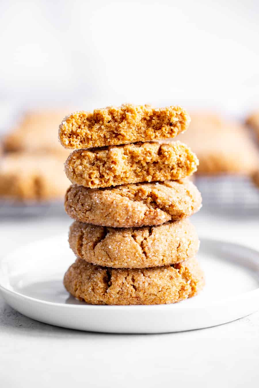 These one bowl peanut butter cookies are make with your favorite creamy nut butter and just a few simple, healthy ingredients! They're soft and a little crisp, egg free, vegan, and perfect for simple desserts and snacks, and to make with kids! Use almond or cashew butter to keep them paleo or peanut butter if you prefer! #paleo #vegan #glutenfree