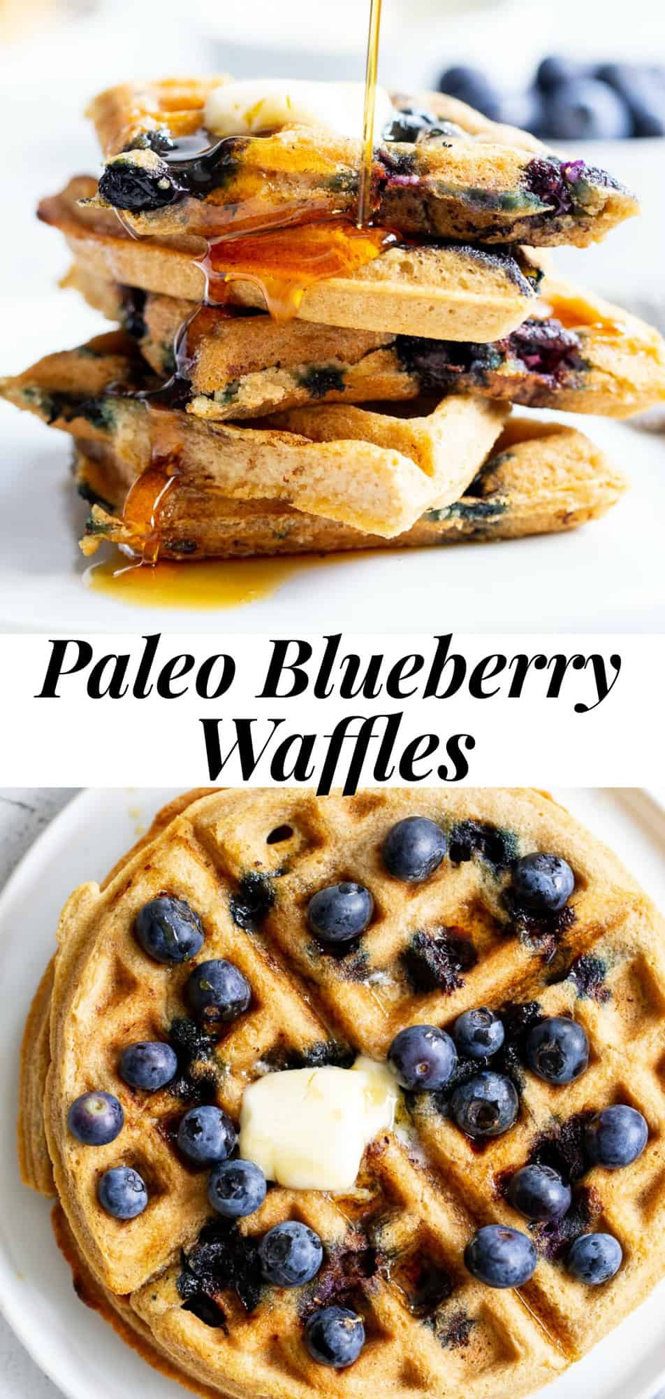 These classic paleo blueberry waffles are crisp on the outside, soft and fluffy on the inside, freezable, and family approved!  They're gluten free, grain free, dairy free, refined sugar free, and easy to make. #paleo #cleaneating #grainfree #glutenfree #waffles #breakfast
