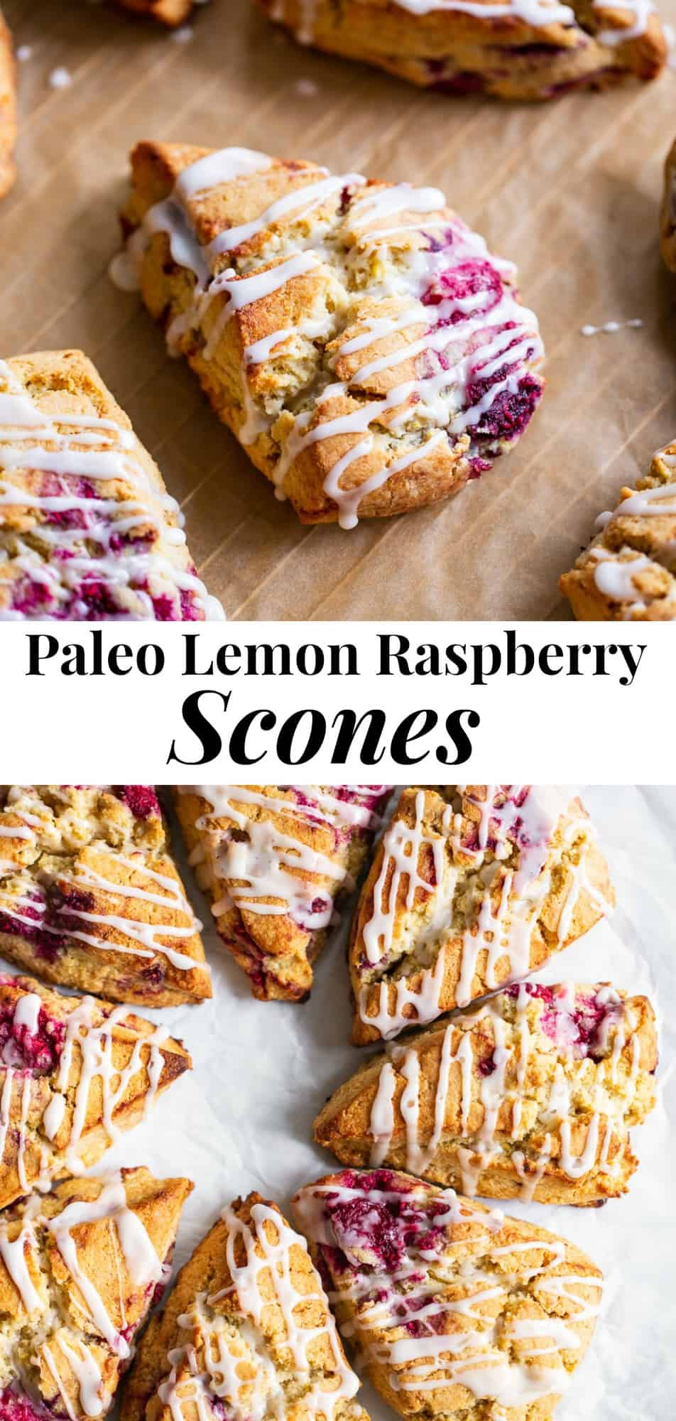 These raspberry lemon scones are perfectly flaky, with rich buttery flavor and are packed with lemon and sweet juicy raspberries.  The lemon icing makes them out of this world delicious! The perfect healthier brunch treat, these scones are paleo, dairy free, gluten free and irresistible! #paleo #glutenfree #scones #paleobaking #healthybaking
