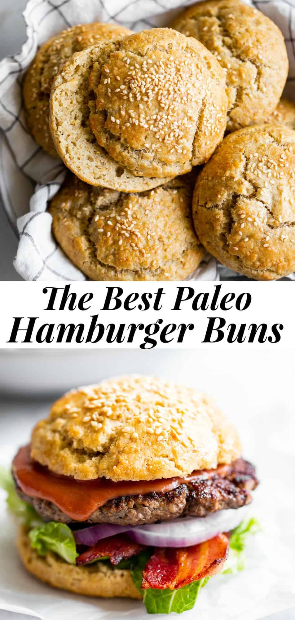 Look no further for the best paleo hamburger buns - they're here!  After lots of testing this recipe hits all the right points - soft chewy texture inside, crusty outside and bendable so you can pack in lots of burger toppings and actually pick it up and take a bite.  Gluten free, grain free, family approved, made all in one bowl and super easy! #paleo #paleobaking #cleaneating #glutenfreebaking