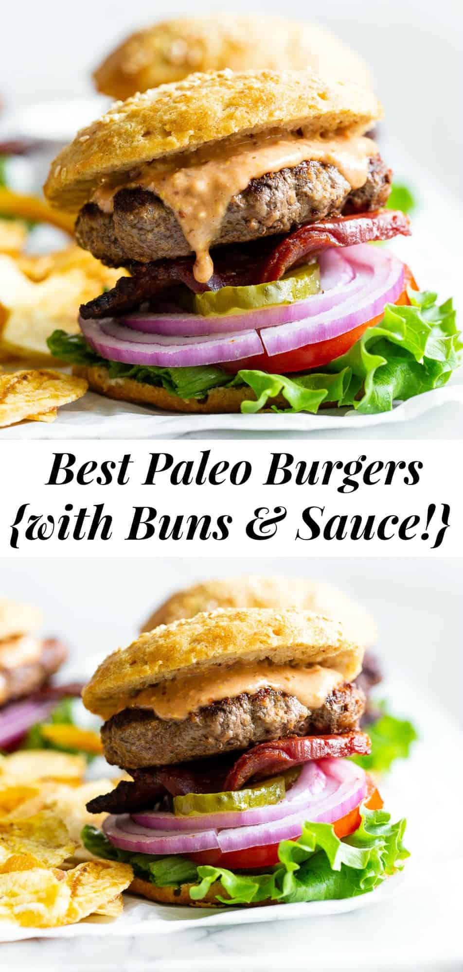 These classic paleo burgers taste just like the real deal but are made with better-for-you ingredients! Juicy grass-fed beef patties, grain free buns, a dairy-free, refined sugar free and soy free burger sauce and thick cut bacon make these the best loaded paleo burgers you'll try. #paleo #cleaneating #hamburgers #burgers #grainfree
