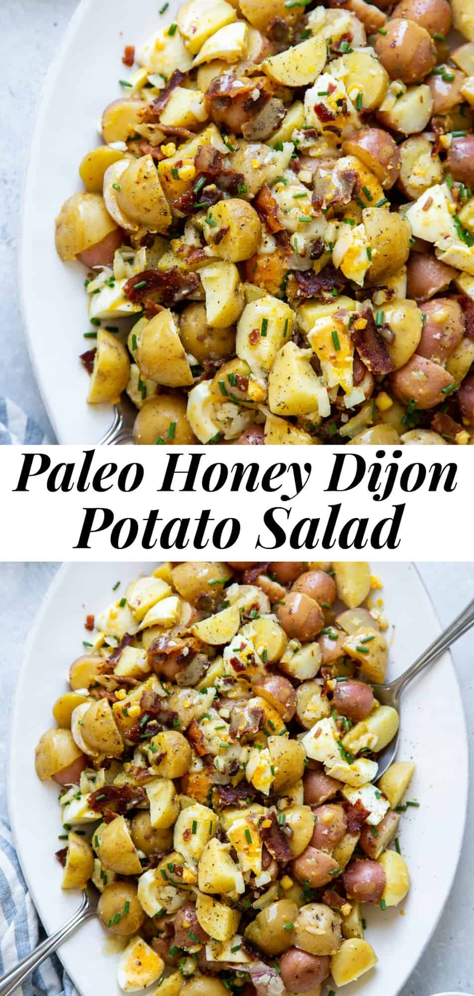 This honey dijon potato salad has tons of flavor and all the goodies you want in your potato salad! Fork tender baby red potatoes with chopped eggs, crispy bacon, onions and chives all tossed in a tangy sweet honey mustard dressing. This healthier paleo potato salad is dairy free, soy free, mayo free and refined sugar free. #paleo #cleaneating #potatosalad