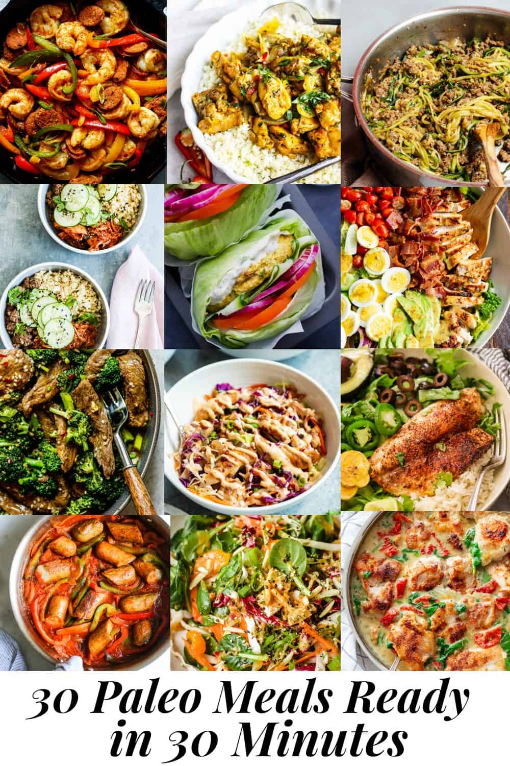 These 30 paleo meals are all ready in 30 minutes or less.  Most are also Whole30 compliant and many are low in carbs + keto friendly.  A variety of cuisines as well as chicken, beef, seafood and fish.  The perfect clean eating healthy recipes for busy days!  #paleo #whole30 #cleaneating