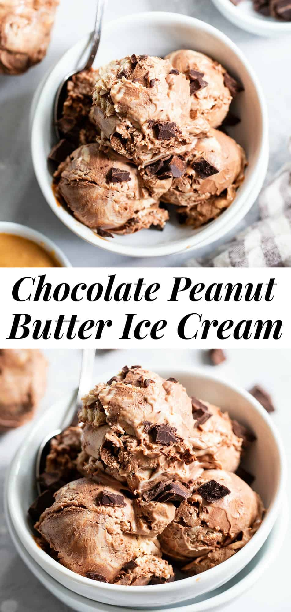 This paleo and vegan chocolate peanut butter ice cream is rich, creamy and super easy to make!  No-churn chocolate ice cream is swirled with a peanut butter layer (or other nut butter) and dark chocolate chunks. It's family approved and irresistibly chocolatey!#paleo #vegan #veganicecream #icecream