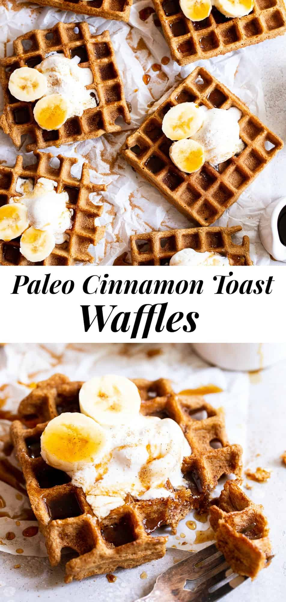 These Cinnamon Toast Paleo Waffles are perfectly crisp and packed with lots of cinnamon sugar flavor!  They're made with coconut and tapioca flour so they're great for those with almond allergies too.  Kid approved, freezable, and perfect topped with fruit, whipped cream, extra cinnamon and maple syrup!  Grain free, dairy free, refined sugar free.  #paleo #paleorecipes #cleaneating #coconutflour