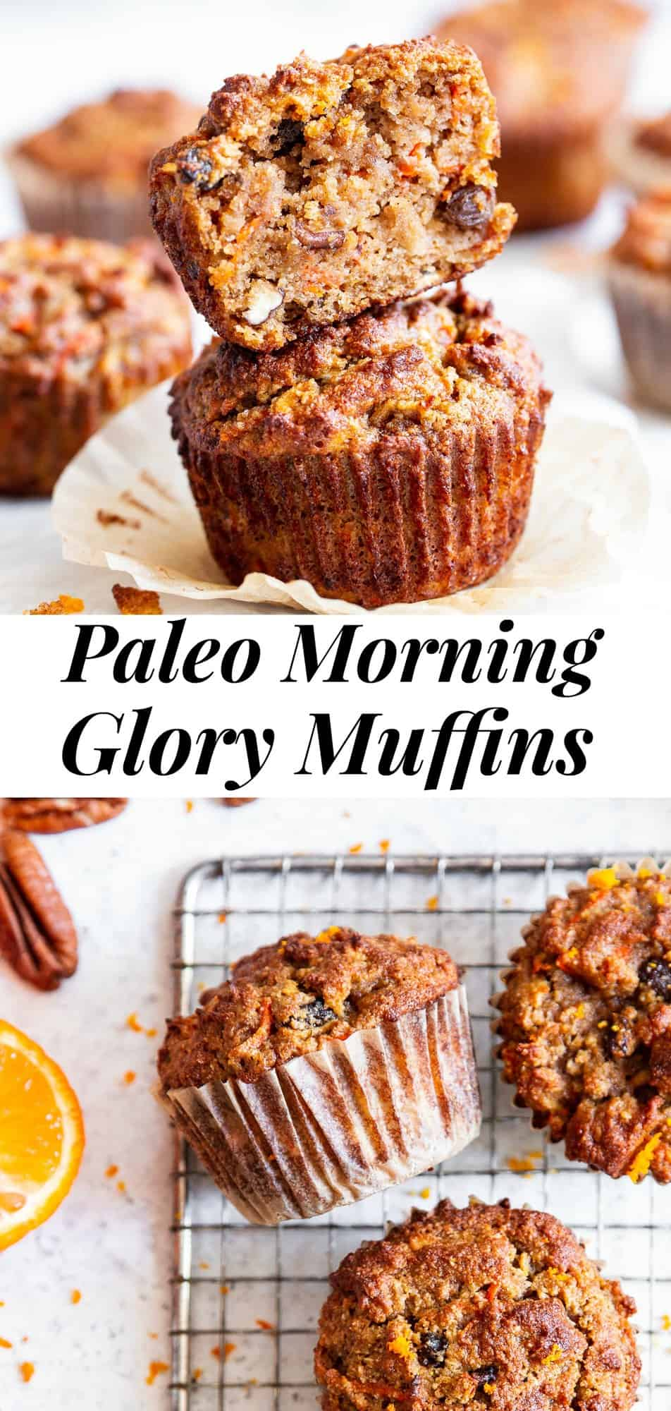 These Paleo Morning Glory Muffins are perfect for breakfast and snacking! Loaded with goodies like apples, carrots, raisins and pecans and flavored with orange zest, these tender and moist muffins absolutely delicious, healthy, gluten free, grain free, dairy free, and refined sugar free. #paleo #glutenfree #paleobaking #cleaneating