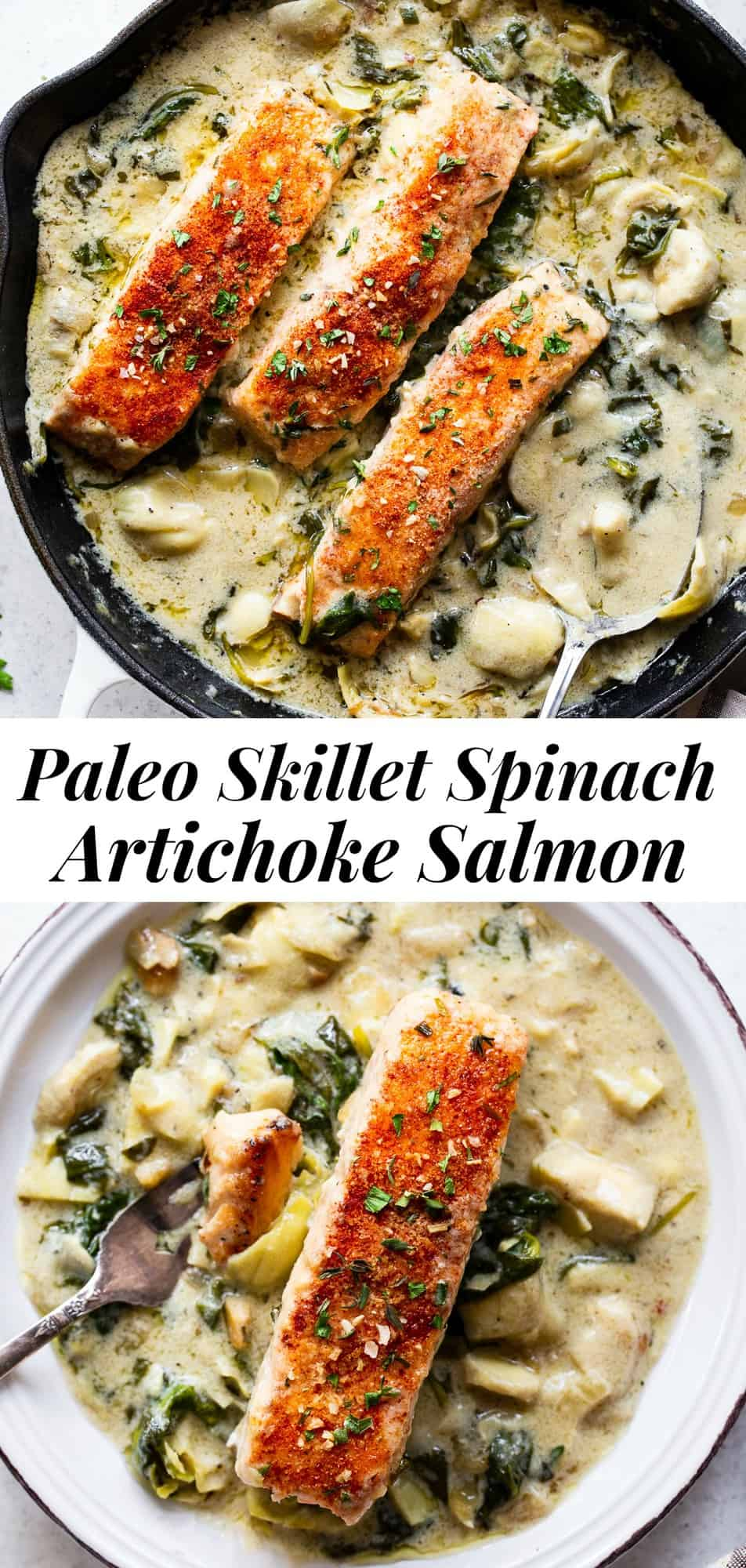 This one-skillet salmon with creamy spinach artichoke sauce is so comforting and packed with flavor and veggies! It's paleo, Whole30 compliant and keto friendly. Great for a delicious and healthy weeknight meal served alone or over cauliflower rice.#paleo #whole30 #keto #cleaneating