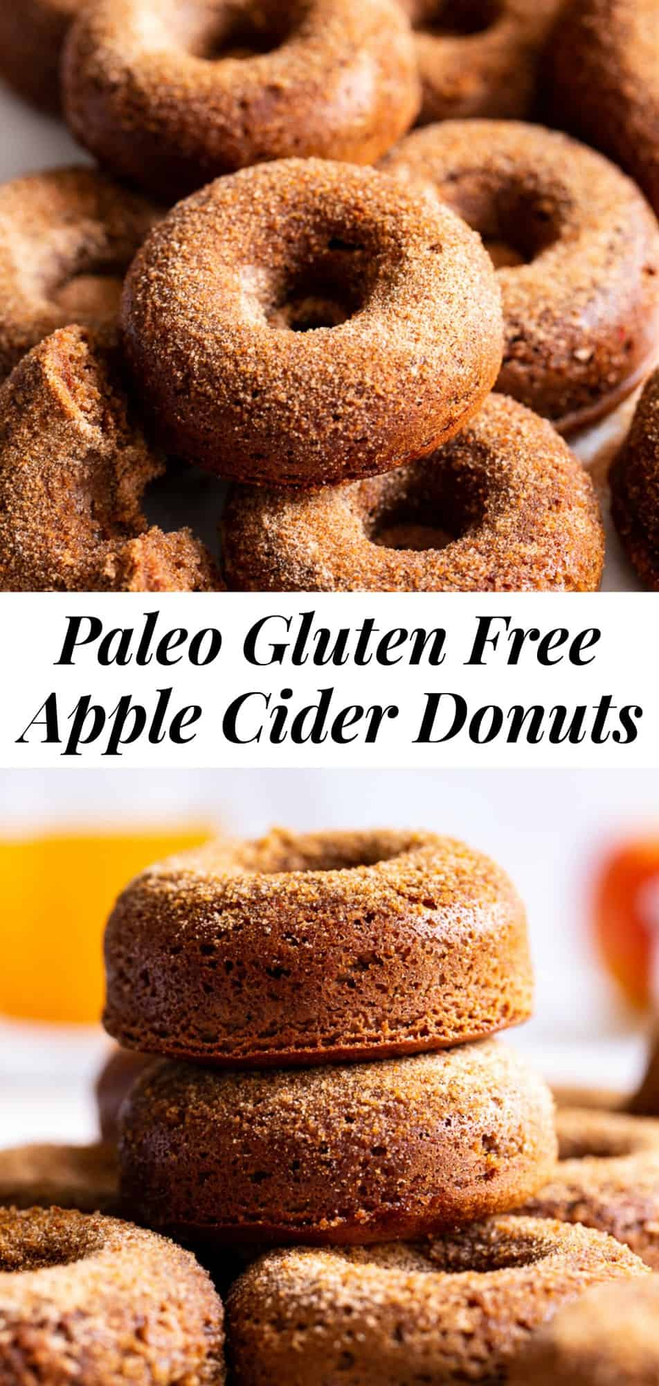This healthier paleo version of classic apple cider donuts are a delicious treat to bake for fall! They're soft and tender, filled with apple pie spice and cinnamon sugar flavor yet they're refined sugar free. Kids love baking and eating them too! Gluten free, dairy free, grain free and paleo. #paleo #cleaneating #glutenfree