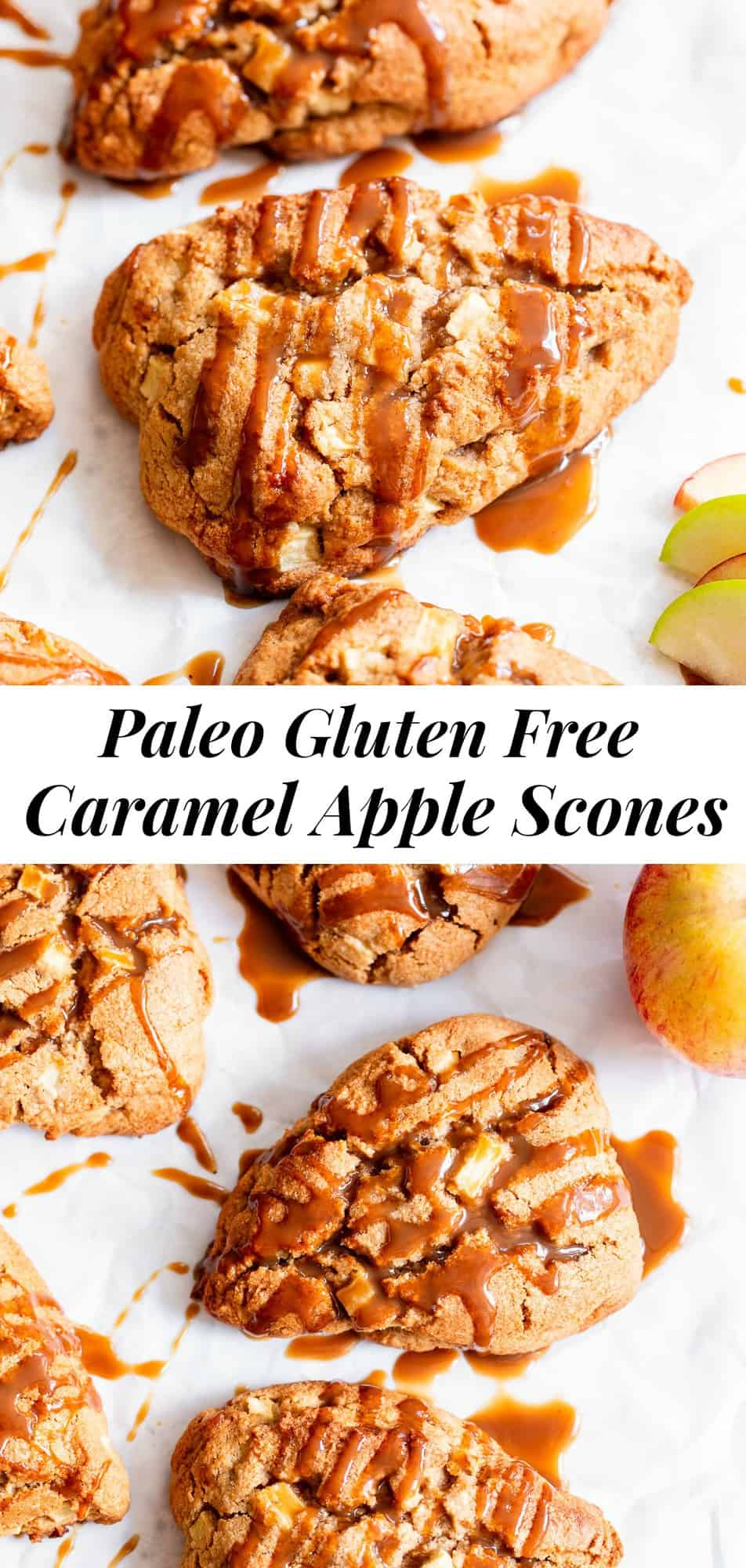 These paleo apple scones are packed with cinnamon flavor and drizzled with a dairy free and paleo caramel sauce that takes them to the next level! Perfect for fall baking at home, as a breakfast or brunch treat or afternoon snack. Kid friendly, gluten free, grain free and dairy free options. #paleo #glutenfree #paleobaking #scones