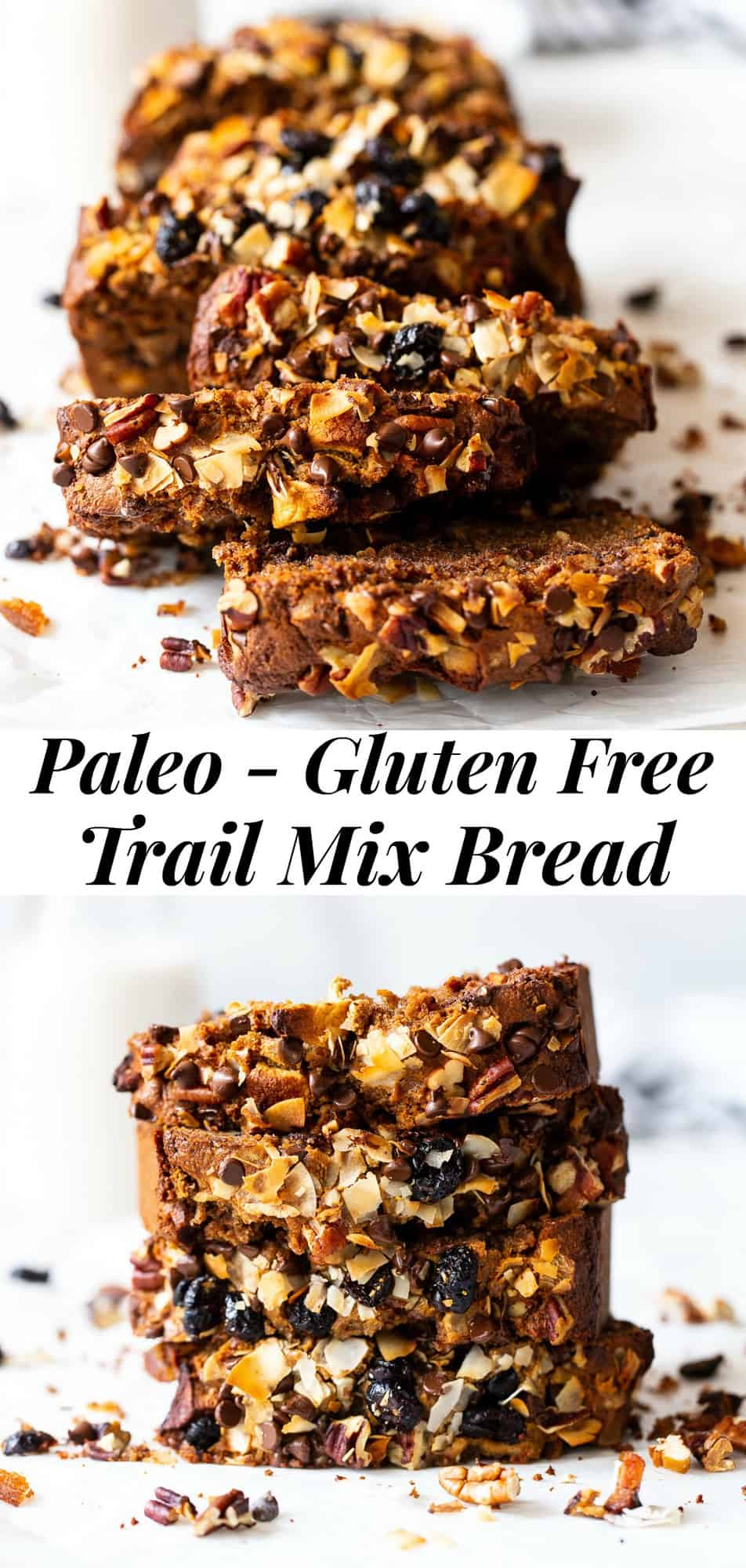 This grain free trail mix bread is a fun twist on a simple paleo quick bread! It's loaded with warm spices, dried fruit, nuts and coconut, and sweetened with maple syrup and coconut sugar. It's perfect to slather with nut butter for breakfast or for an anytime snack! Gluten free, refined sugar free, paleo, dairy free. #paleo #glutenfree #paleobaking #cleaneating