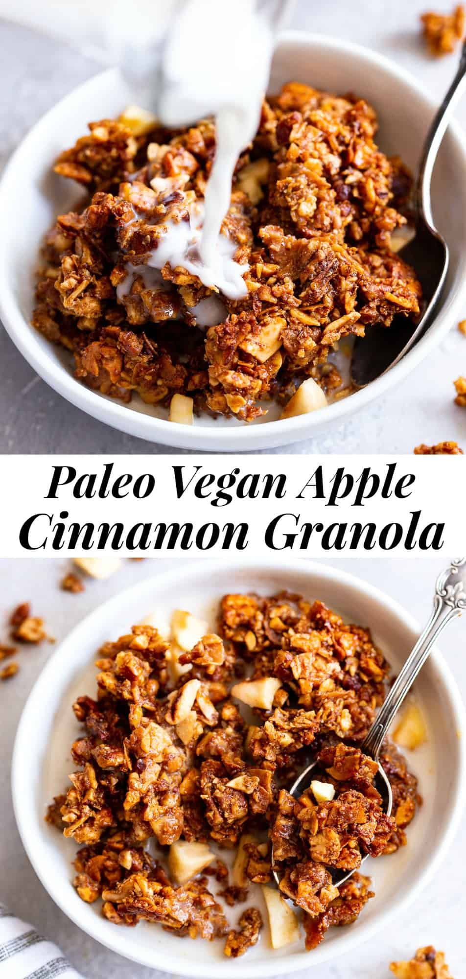 This apple cinnamon granola is the ultimate grain free granola for fall!  Packed with apple pie spice, chopped nuts, coconut, chewy dried apples and sweetened with maple syrup, this baked granola is perfect for breakfast with dairy free milk or for snacking on by the handful!  It's vegan, dairy free, and paleo friendly.  #paleo #vegan #cleaneating
