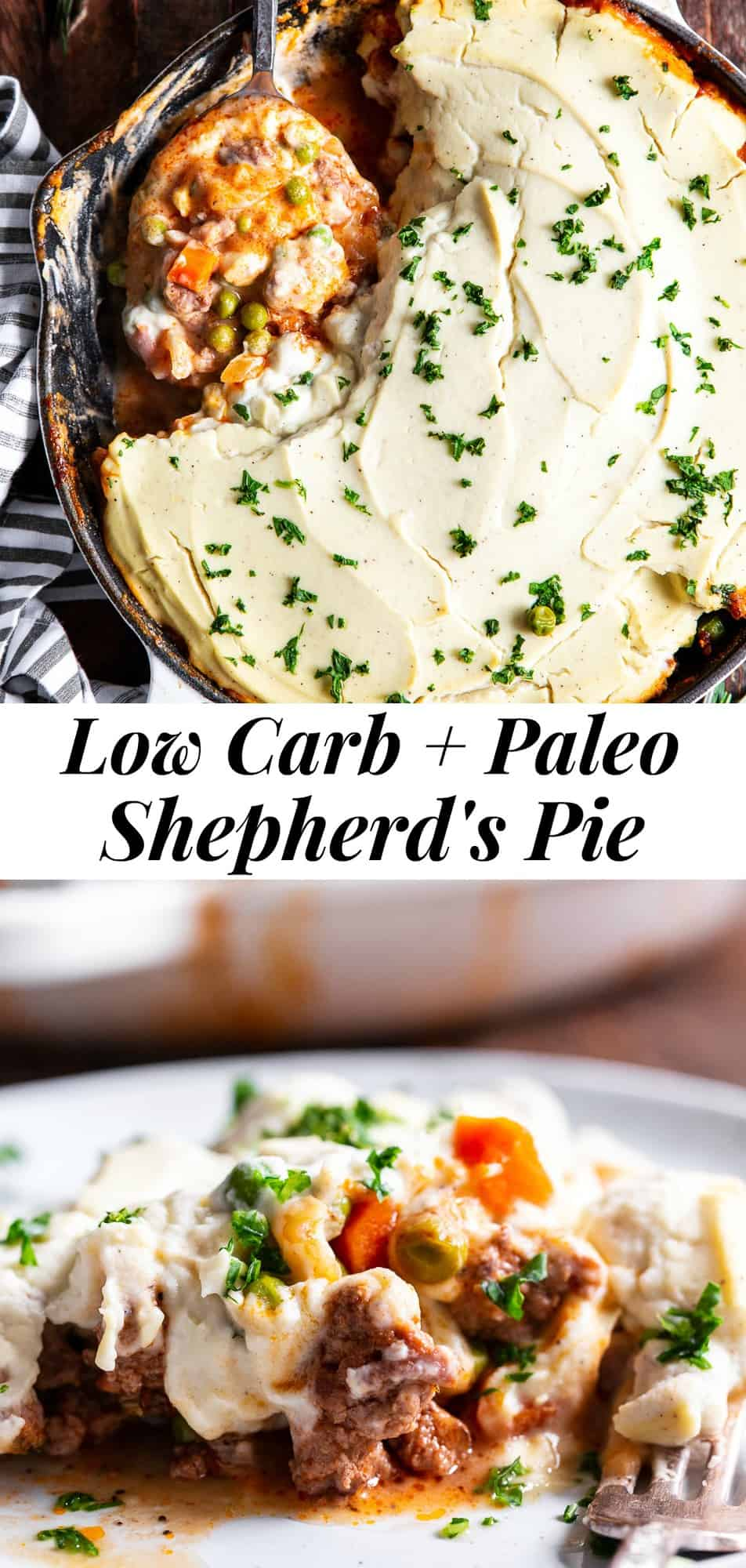 This Low Carb Shepherd's Pie is classic, cozy comfort food for cold winter days!  It's Whole30 compliant, dairy free, keto friendly and kid approved.  A flavorful, hearty ground meat and veggie mixture is topped with creamy mashed cauliflower and baked until golden brown and bubbling.  #paleo #keto #lowcarb #cleaneating #whole30
