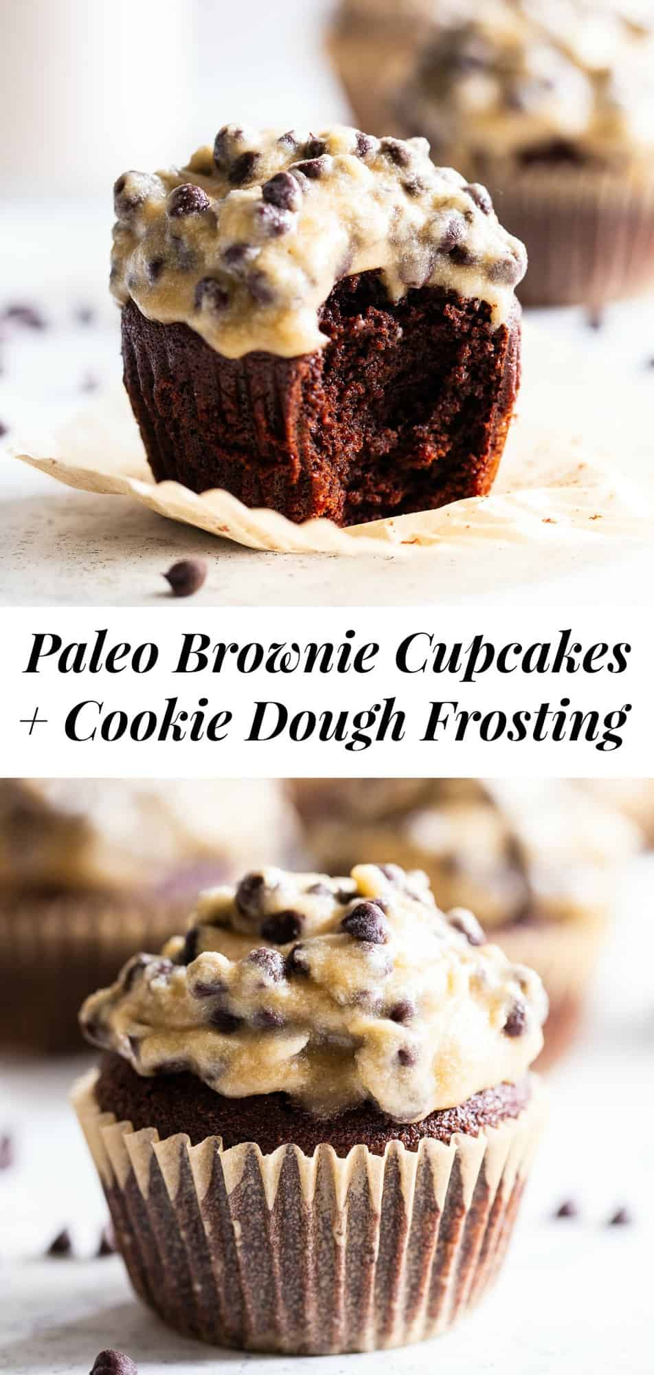 These decadent and rich paleo chocolate brownie cupcakes have a thick cookie dough buttercream frosting with a dairy free option. They're perfect for any special occasion or just because you feel like a treat!  Kid and family approved, gluten and grain free. #paleo #glutenfree #paleobaking #cupcakes