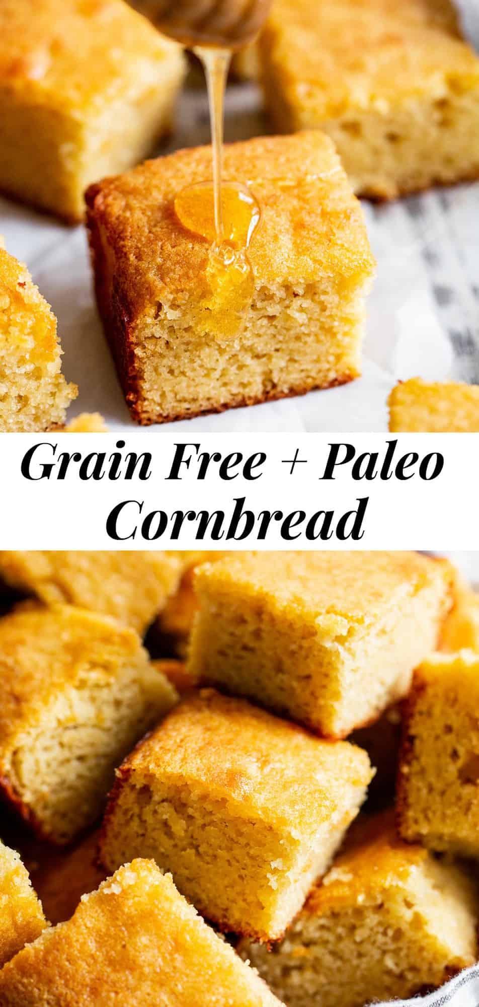 This paleo cornbread is totally gluten free, grain free, dairy free and refined sugar free but tastes exactly like the real deal. It's perfect to serve with a meal or with breakfast with a little ghee or vegan butter and a drizzle of honey! #paleo #glutenfree #cleaneating #grainfree