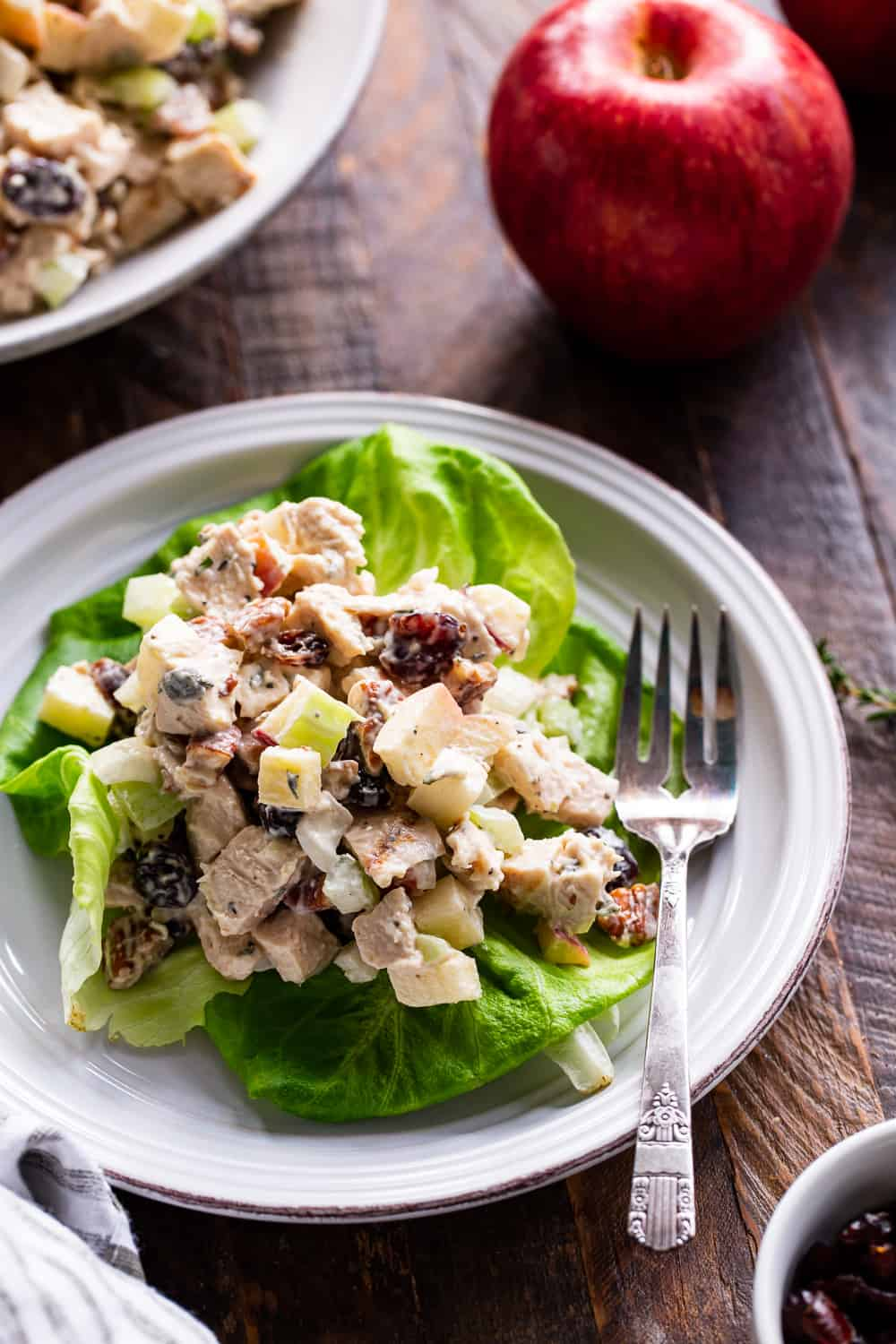 This healthy paleo chicken salad is packed with so many goodies like crunchy apples and celery, onions, cranberries, fresh herbs and tossed with an easy homemade mayo.  It's perfect over a salad, wrapped in greens or on its own for lunch or a snack!  Family approved, sugar free, dairy free and Whole30 compliant. #paleo #whole30 #cleaneating #chickensalad