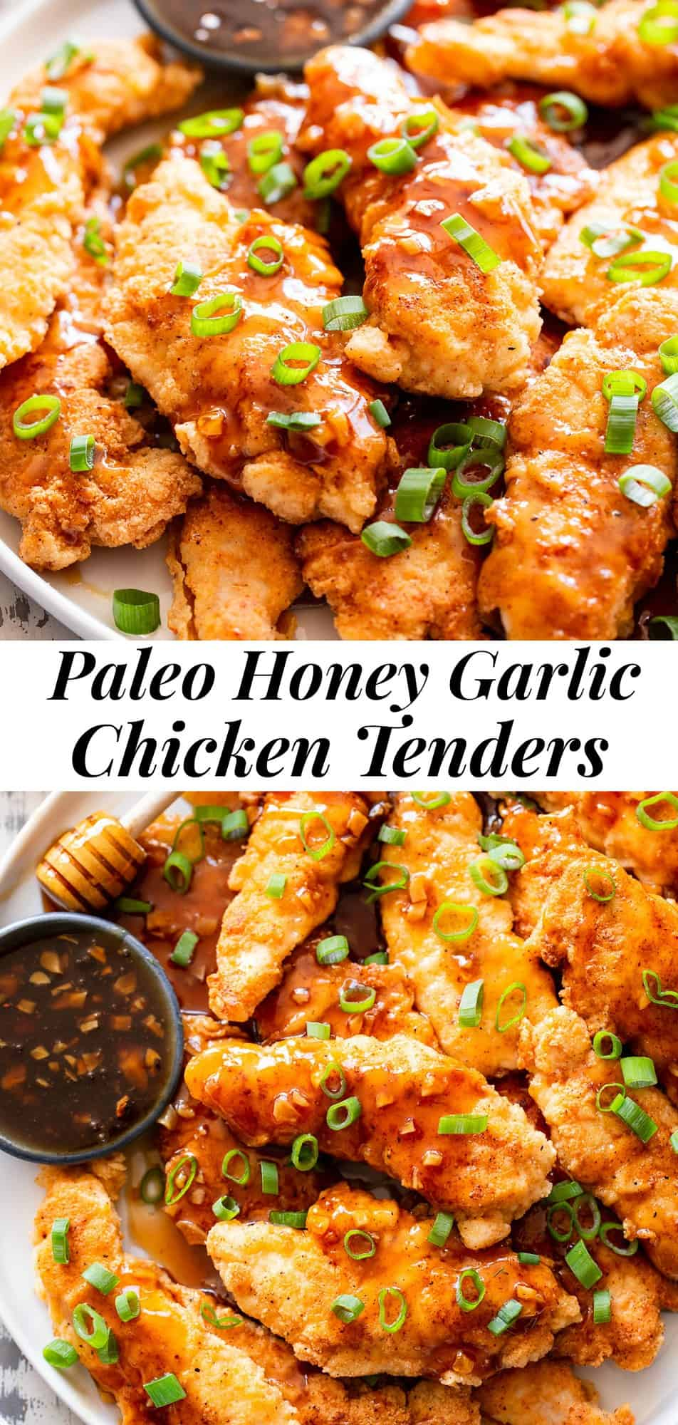 "These tasty honey garlic chicken tenders have a crispy grain free ""breading"" and a sweet and savory honey garlic sauce that's full of flavor! They're easy to throw together and perfect to serve alongside your favorite veggies, over cauliflower rice, or over a salad. Kid friendly, paleo, gluten free, and delicious! #paleo #glutenfree #Chicken #cleaneating"