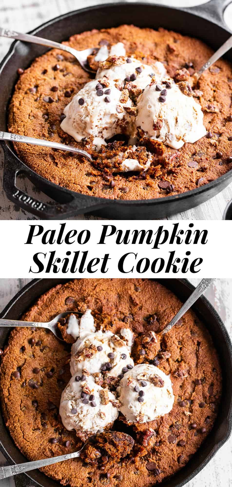 This gooey Pumpkin Skillet Cookie is packed with chocolate chips and warm pumpkin spices.  It's delicious out of the oven topped with your favorites like coconut vanilla ice cream, candied pecans and extra chocolate chips!  Gluten free, dairy free and paleo.  #paleo #pumpkin #glutenfree