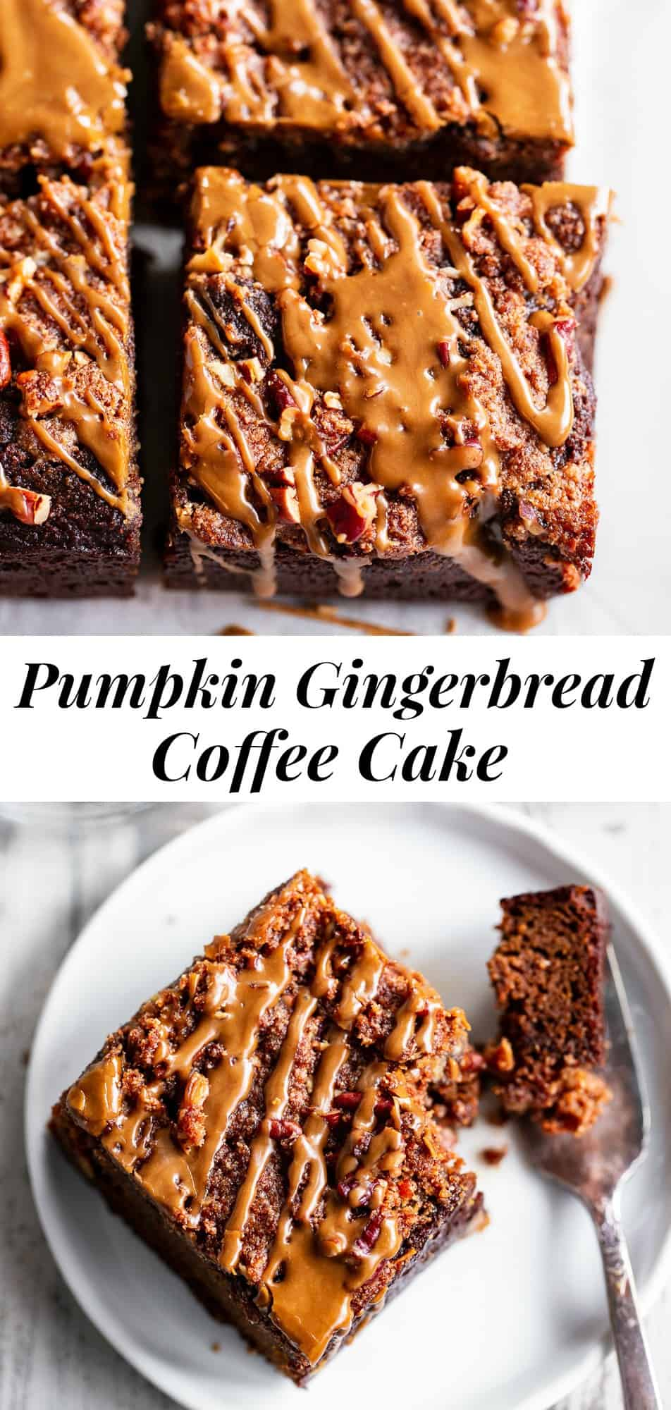 This Paleo Pumpkin Gingerbread Coffee Cake has it all! Moist cake with sweet warm pumpkin spices and molasses topped with an addicting crumb topping and gingerbread icing! Fancy enough to serve to guests but so delicious that you'll want to have some to snack on all season long. #paleo #glutenfree #healthybaking #gingerbread #coffeecake #cleaneating