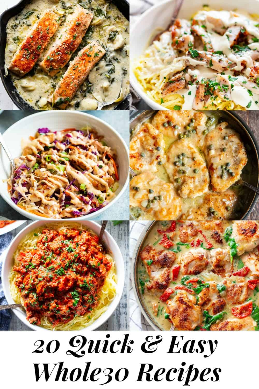 These 20 quick and easy healthy dinners are sure to make everyone in the family happy! Each recipe is paleo friendly, Whole30 compliant, low carb, and ready from start to finish in 30 minutes or less. If you're short on time you need these fast, healthy and super tasty dinner recipes in your life! #paleo #whole30 #keto #lowcarb #cleaneating
