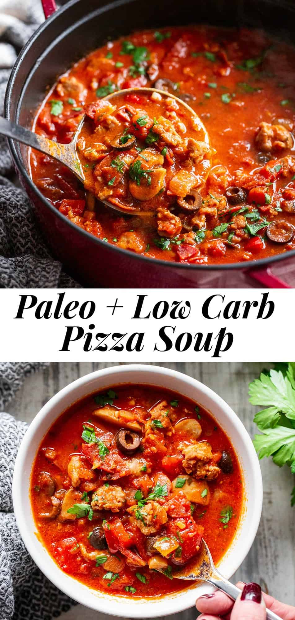 This low carb and paleo pizza soup is hearty, comforting and packed with all your favorite pizza toppings like sausage, peppers, onions, mushrooms, olives and pepperoni. Add broth and your favorite marinara sauce and you have a healthy meal that tastes just like pizza but without the carbs and dairy! #whole30 #paleo #keto #cleaneating